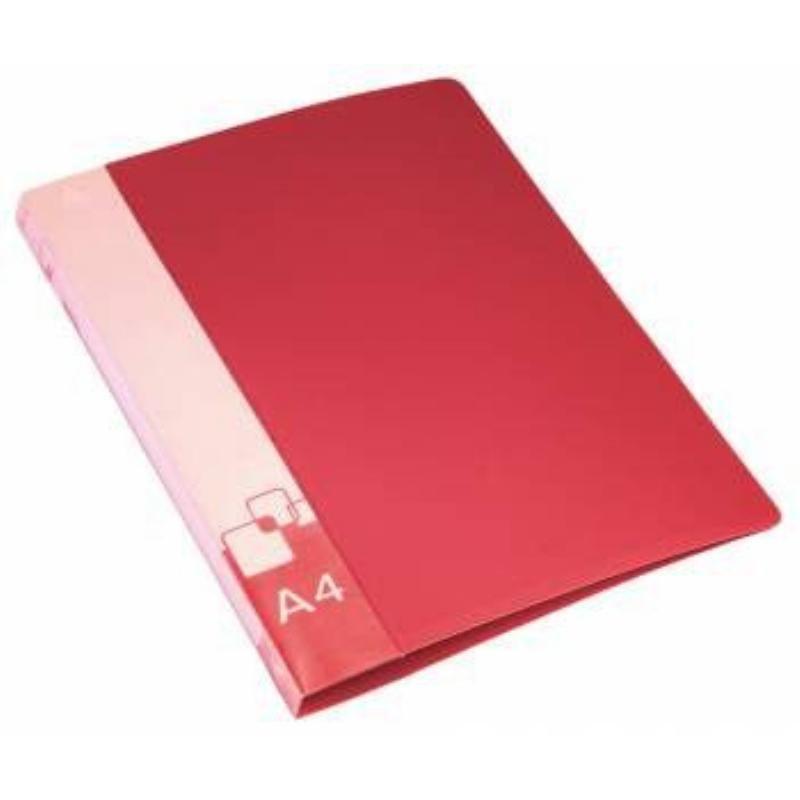 Папка-скоросшиватель с пружиной Бюрократ плотная с карманом красная