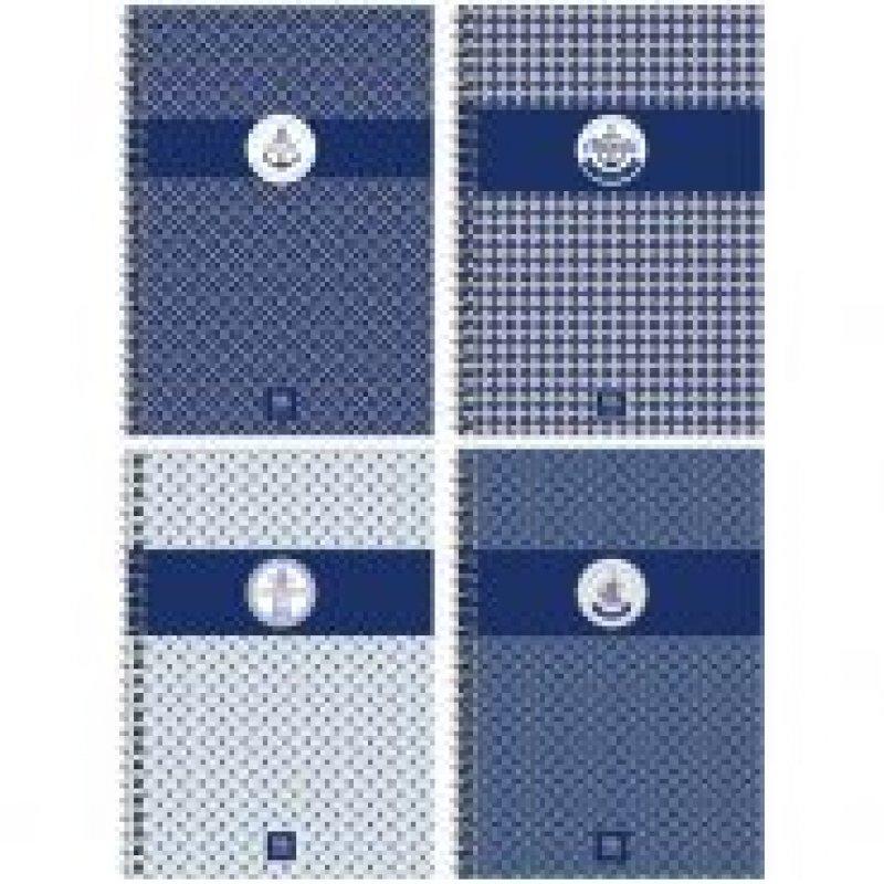 Тетрадь 96л Узоры Sea pattern клетка гребень твердая обложка