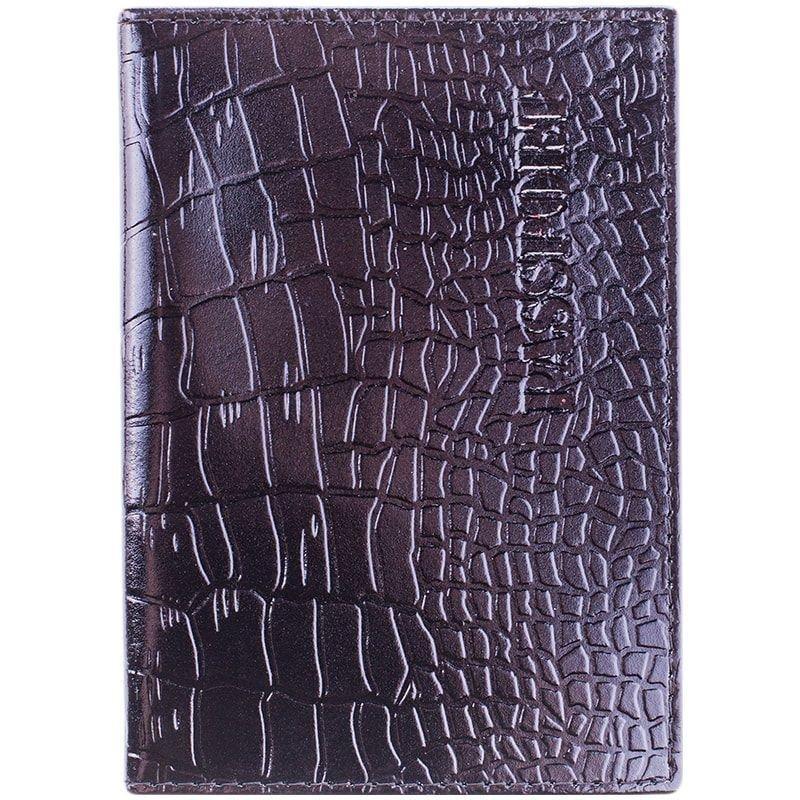 Обложка для паспорта OfficeSpace кожа черный крокодил