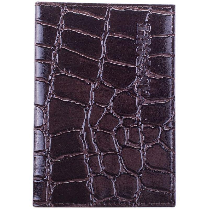 Обложка для паспорта OfficeSpace кожа темно-коричневый Croc
