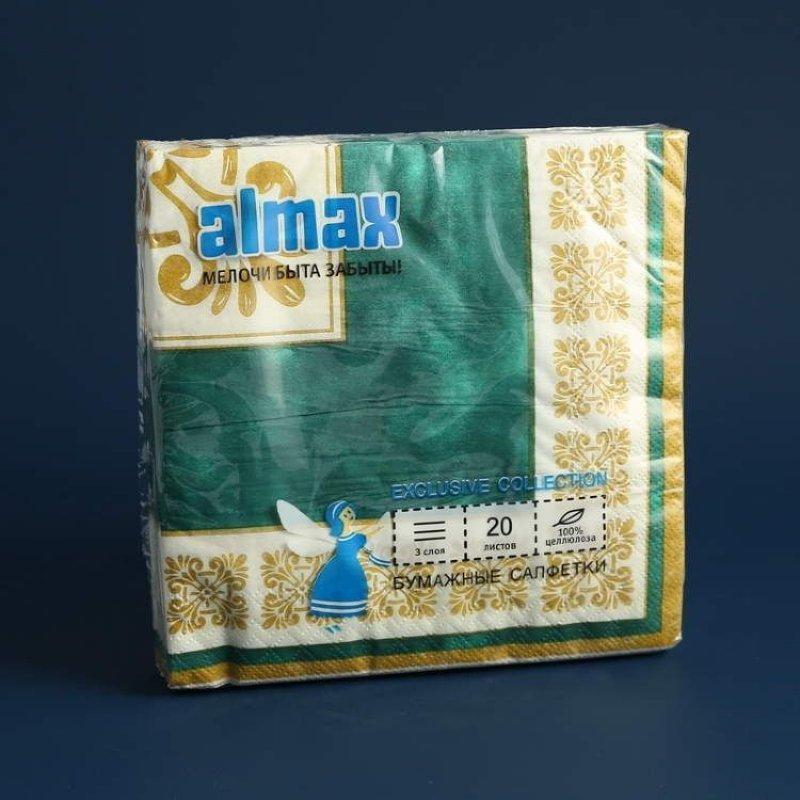 Салфетки 20л Almax Color Collection 33х33см 3сл Verona зеленый