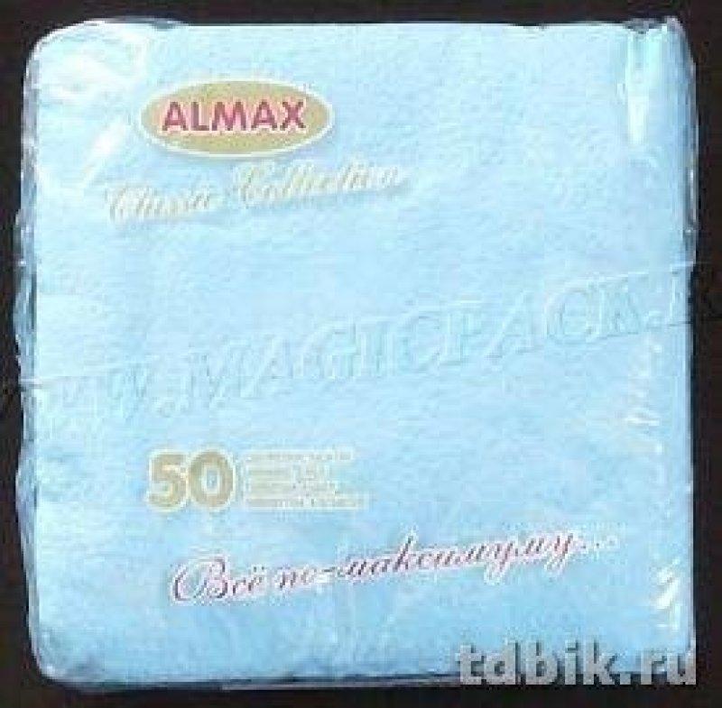 Салфетки 50л Almax Premium Collection 24х24см 2сл пастель голубая