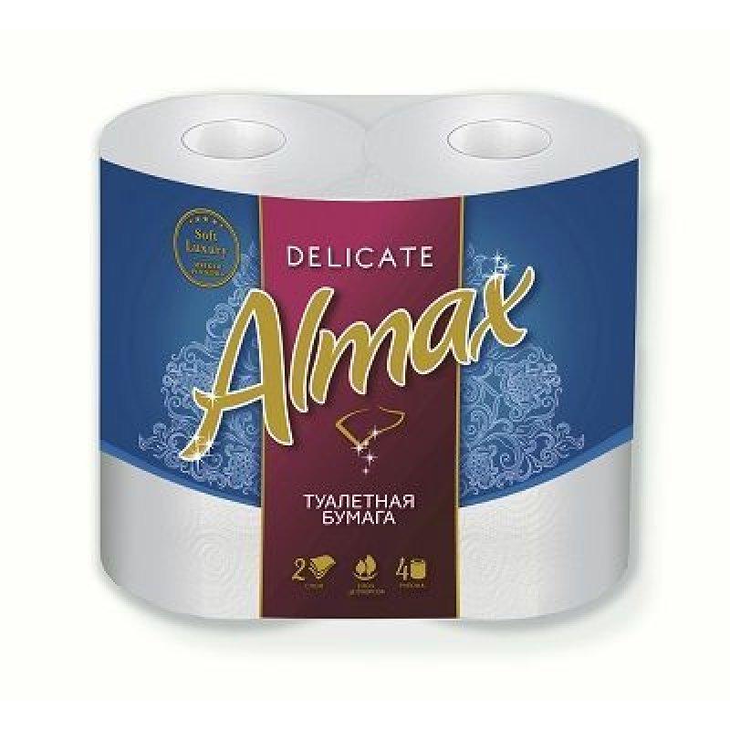 Бумага туалетная Almax Delikate New 2-сл 4 шт/уп с цветным тиснением