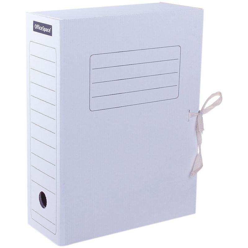 Короб архивный 100мм 900л 2 завязки микрогофрокартон 325х253х100 мм OfficeSpace