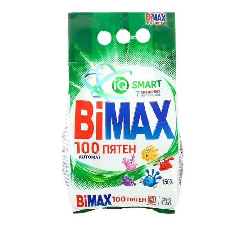 Стиральный порошок 1500г автомат 100 пятен колор BiMax