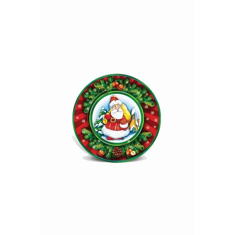 Тарелка одноразовая картон 230мм Fiesta НГ Веселый дедушка 6шт/уп