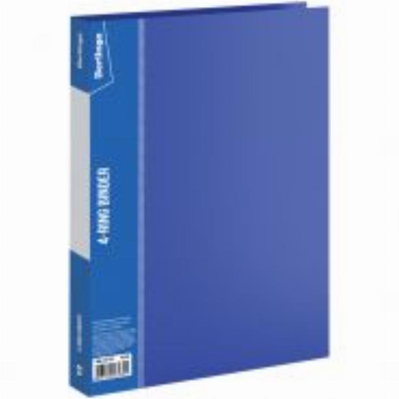 Папка на 4-х кольцах 25мм Berlingo Standard с карманом синяя 0,7мм