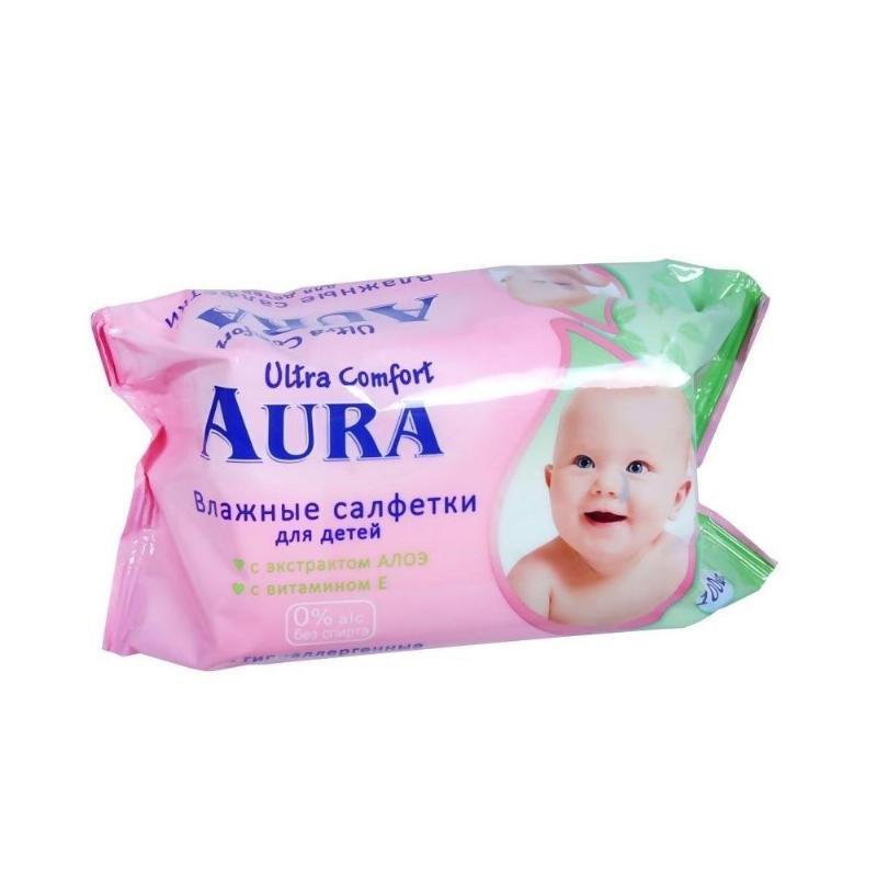 Салфетки влажные Aura Ultra comfort детские алоэ100шт/уп