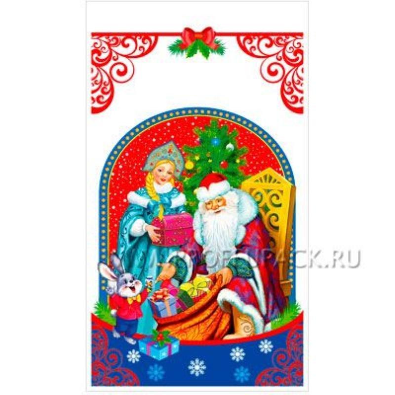 Пакет подарочный 20х35см НГ прозрачный с рис+мет Дед Мороз и Снегурочка №27