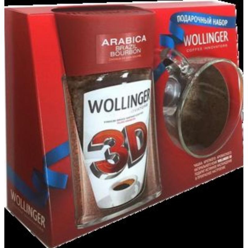 Кофе Wollinger 3D растворимый 95г+Кружка подарок