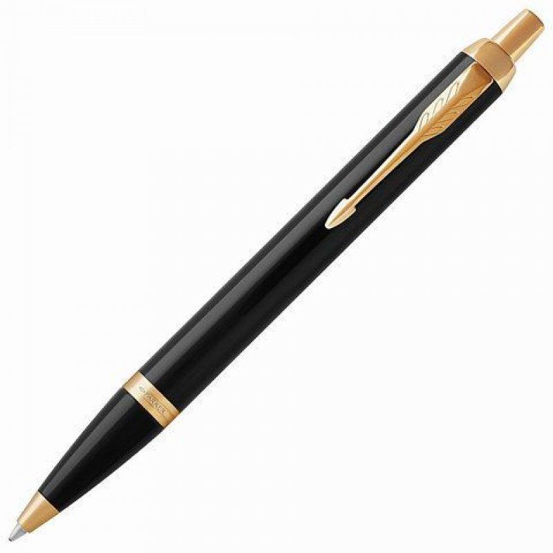 Ручка шариковая подарочная Parker IM Core Black Lacquer GT 0,7мм черный глянц лак позол детали синяя
