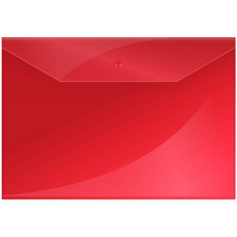 Папка-конверт с кнопкой А4 OfficeSpace 0,15мм красная