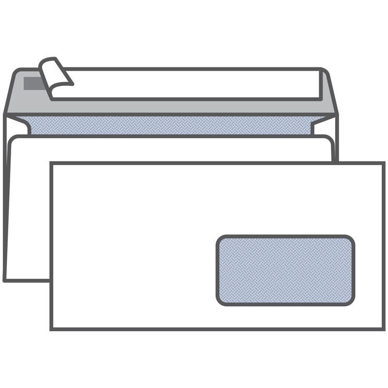 Конверт Е65 (Евро 110х220мм) правое окно белый с отрывной полосой внутренняя запечатка