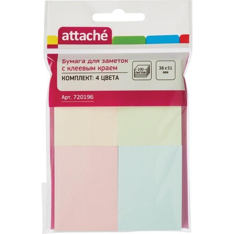 Блок для записей самоклеящийся 38х51мм Attache 100л пастель 4 цвета комплект 4шт