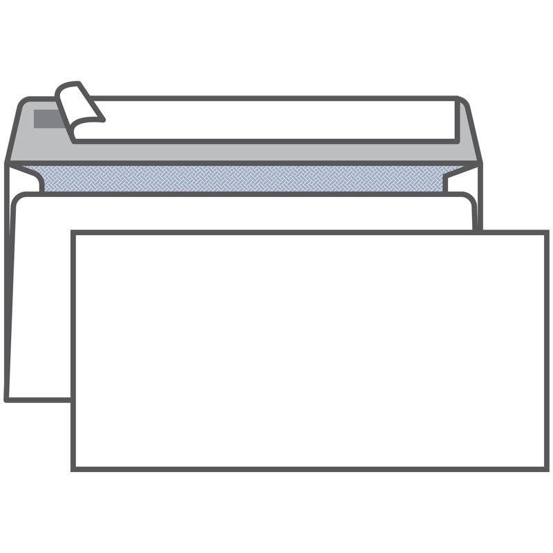 Конверт Е65 (Евро 110х220мм) белый с отрывной полосой внутренняя запечатка