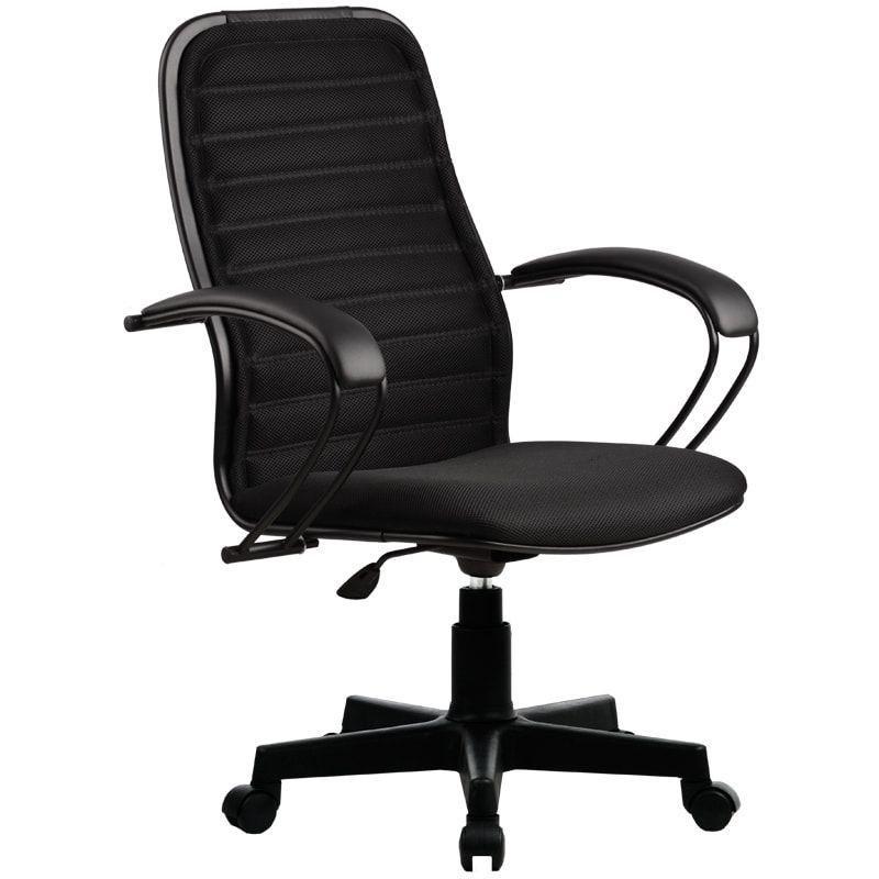 Кресло руководителя Метта CP-5PL с подлокотниками ткань черное