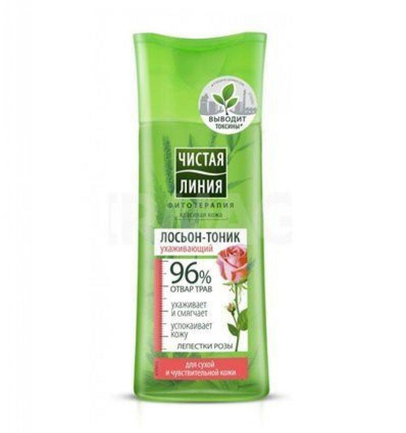 Лосьон-тоник Чистая линия 100мл для сухой кожи на отваре трав Лепестки роз