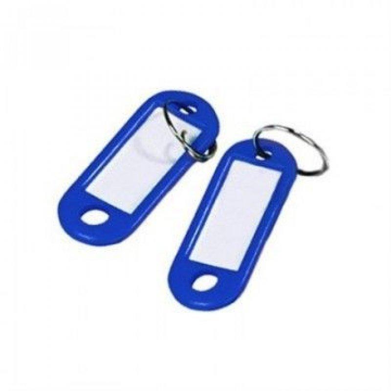 Брелок для ключей 50мм синий инфо-окно 28х14мм к-т 10 шт/уп