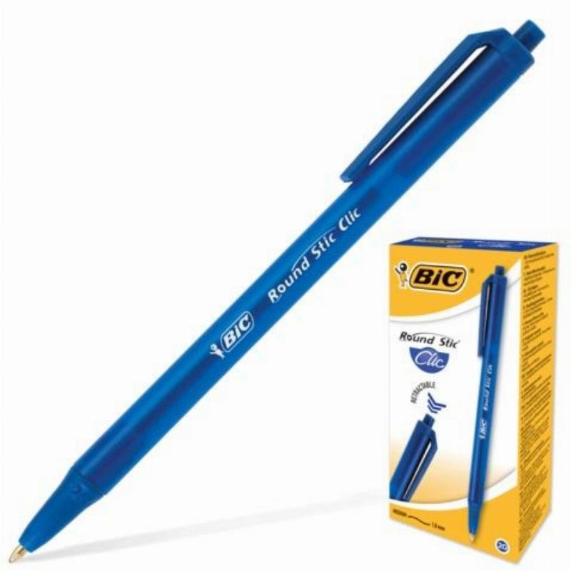 Ручка шариковая автомат Bic Round Stic Clic 1мм тонированный корпус синяя