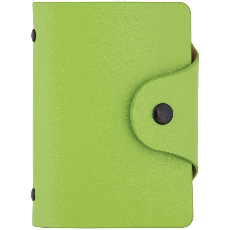 Визитница карманная 40 визиток OfficeSpace кожзам кнопка зеленый