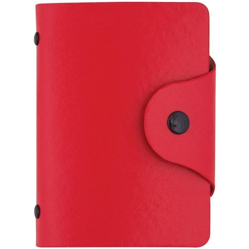 Визитница карманная 40 визиток OfficeSpace кожзам кнопка красный
