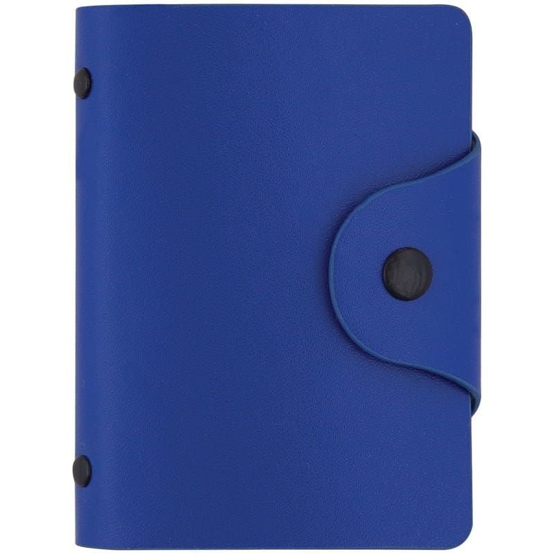 Визитница карманная 40 визиток OfficeSpace кожзам кнопка сине-голубой