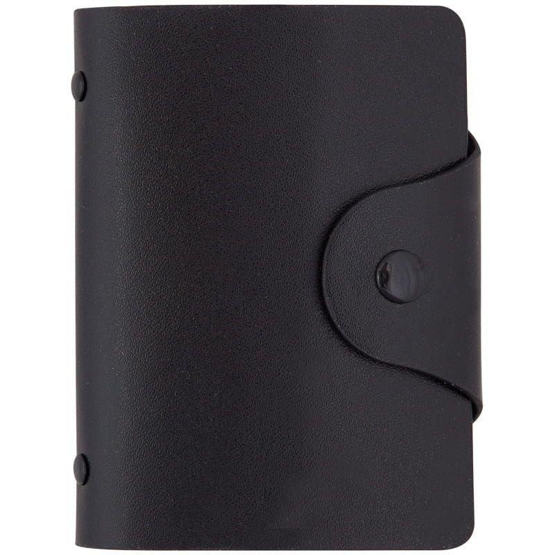 Визитница карманная 40 визиток OfficeSpace кожзам кнопка черный