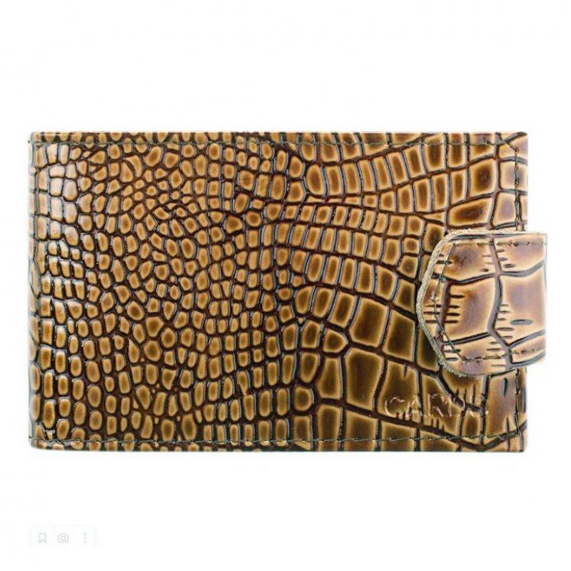 Визитница-кредитница 18 карточек OfficeSpace кожа крокодил лак светло-коричневый