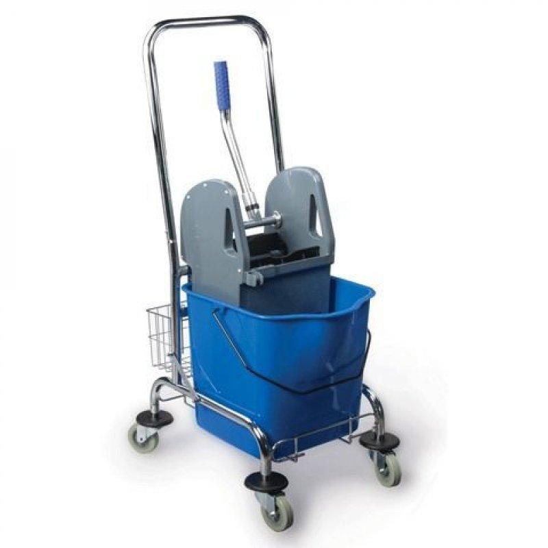 Тележка уборочная BRABIX 1съемное ведро 25л механический отжим корзина мет каркас синяя
