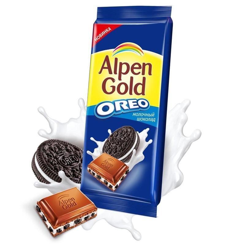Шоколад Alpen Gold Oreo молочный с печеньем 95г
