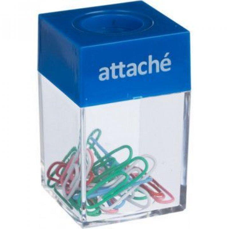 Скрепочница магнитная Attache прозрачная с крышкой ассорти +20 скрепок