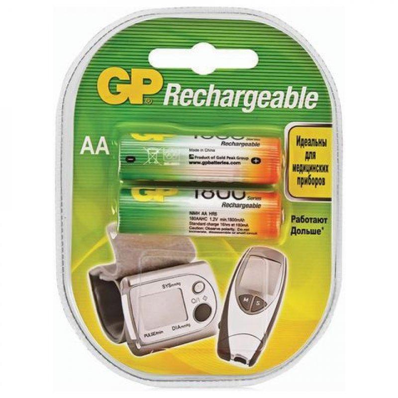 Аккумуляторная батарейка GP 180AAHC AA 1800 мАч (КОМПЛЕКТ 2 шт в клемшеле)