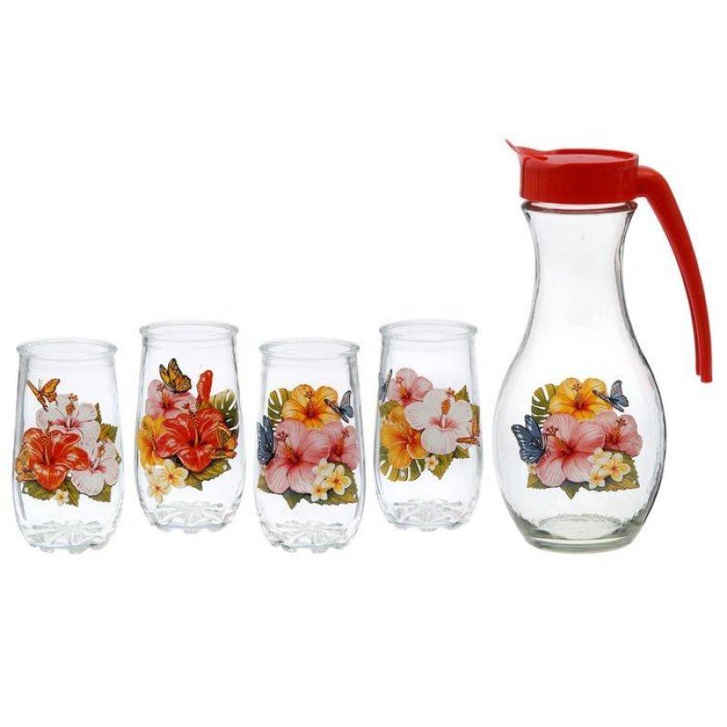 Набор кувшин стаканы Экзотика стекло 5пр