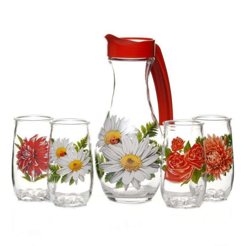 Набор кувшин стаканы Букет стекло 5пр