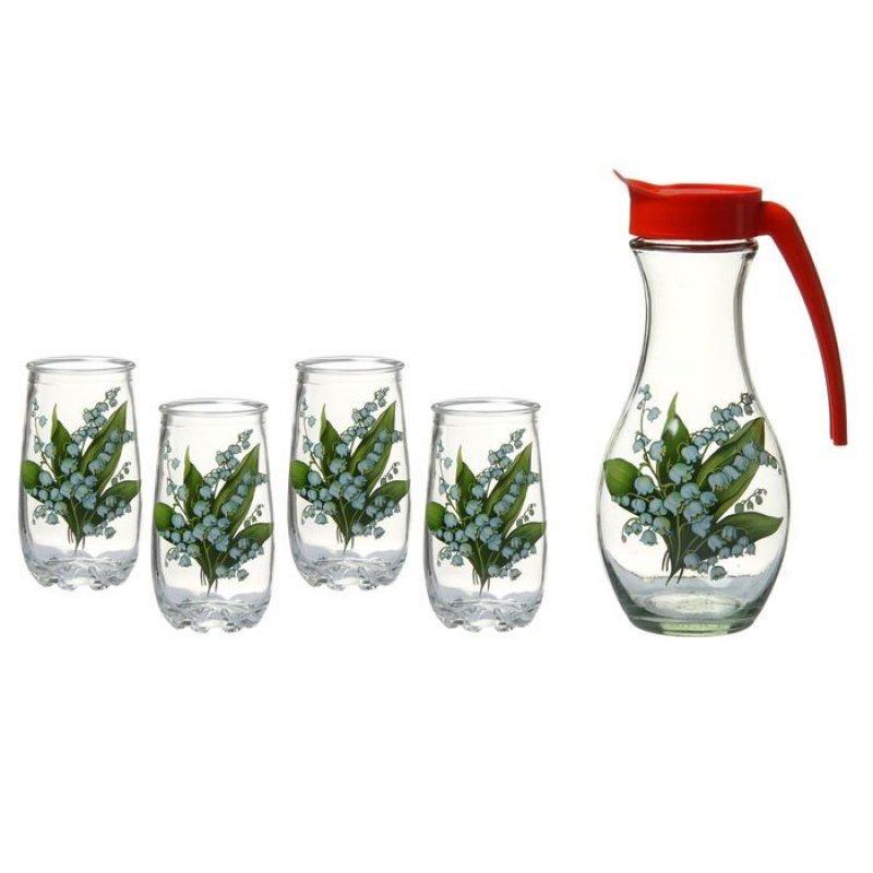 Набор кувшин стаканы Ландыш стекло 5пр