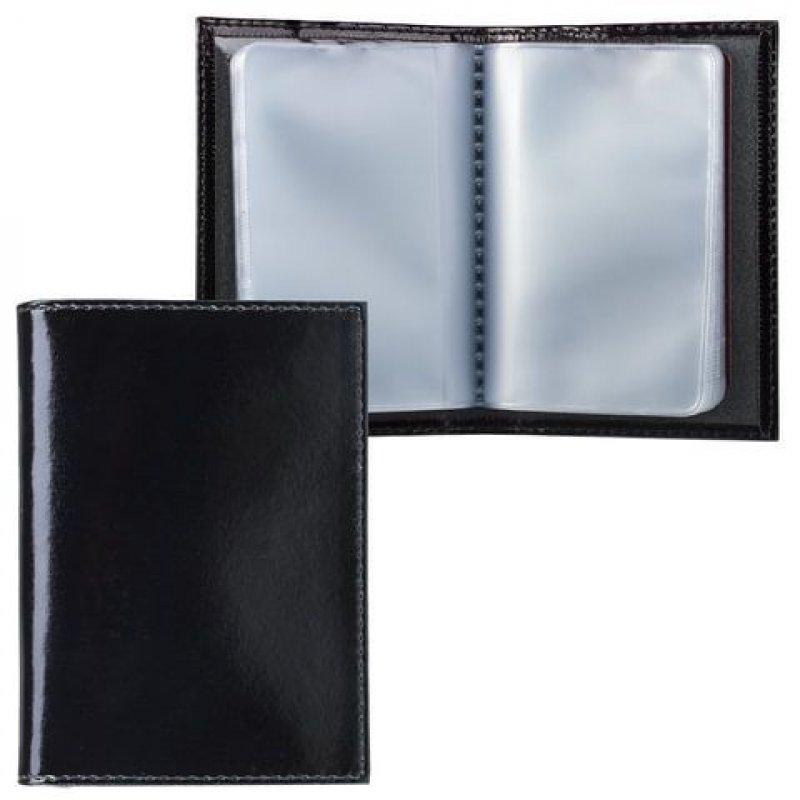 Визитница карманная 40 визиток Befler кожа черный