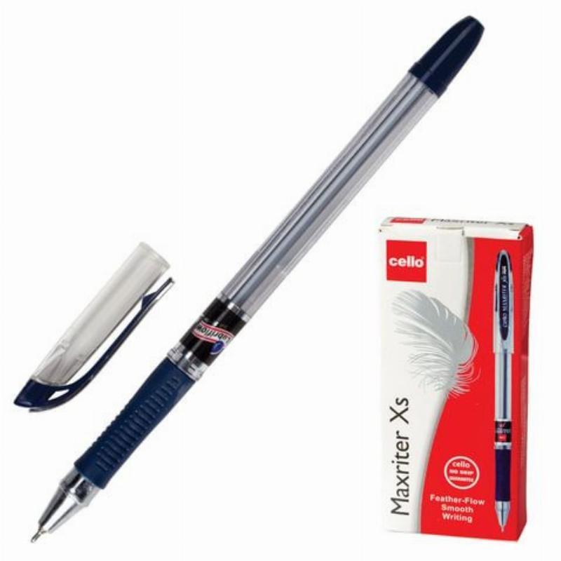 Ручка шариковая Cello Maxriter XS 0,7мм прозрачный корпус масляная синяя
