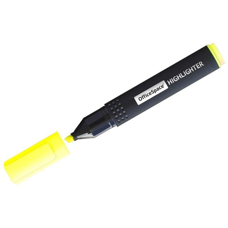Текстмаркер OfficeSpace 1-4мм скошенный наконечник желтый