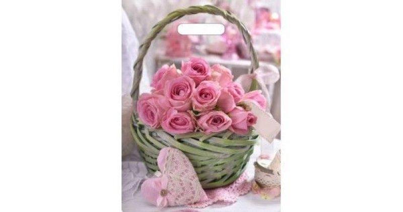 Пакет прорезн ручка 31х40см 60мкм Триумф Корзина роз/Тюльпаны на фиолетовом