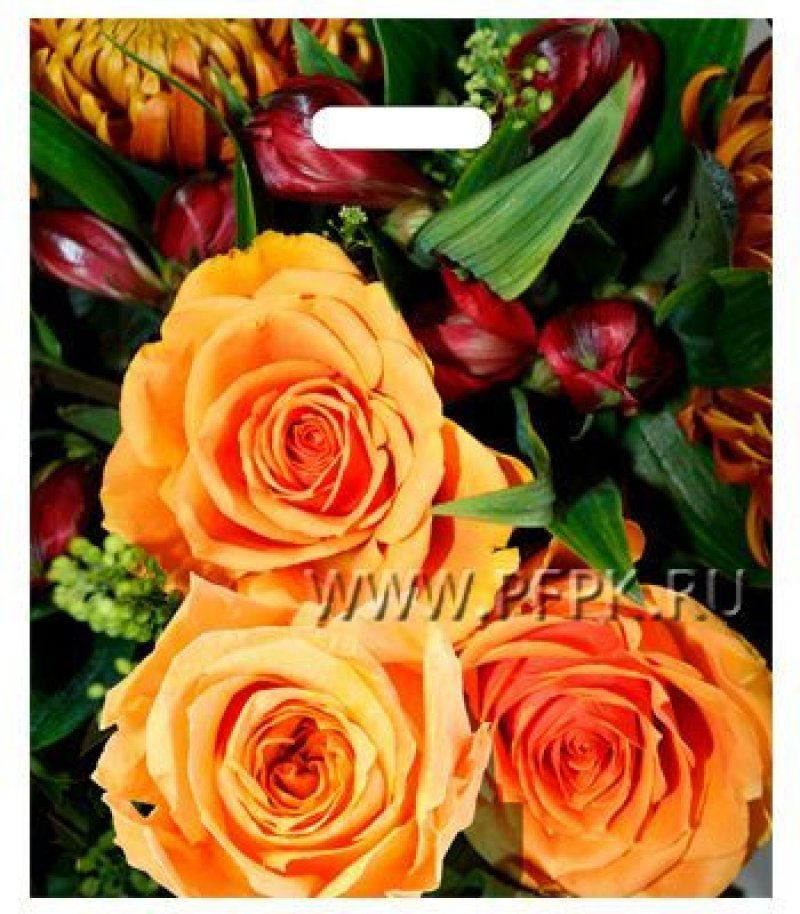 Пакет прорезн ручка 38х45см 60мкм Янтарь Оранжевые розы/Цветочный сад