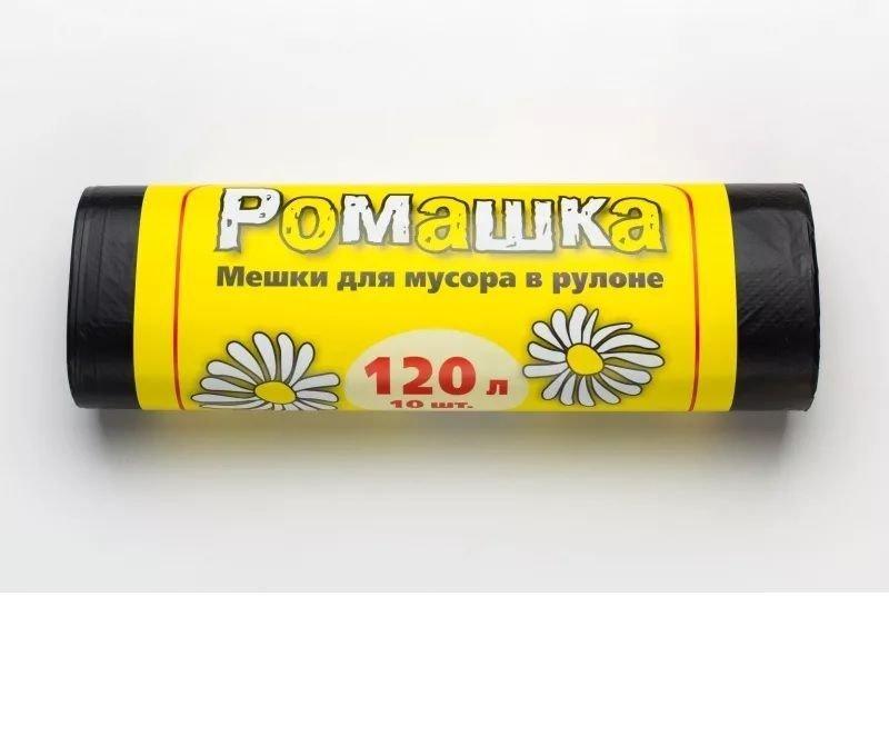 Мешки для мусора 120л 70х110см 20мкм 10шт/рул Ромашка черные ПНД