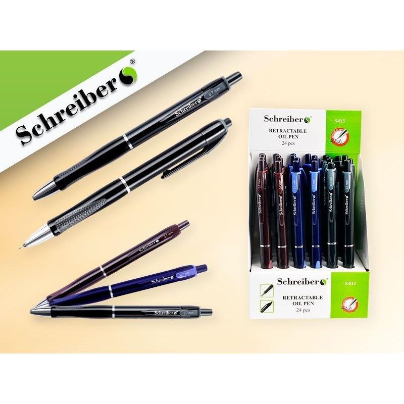 Ручка шариковая автомат Schreiber 0,7мм на масляной основе рельефный держатель синяя
