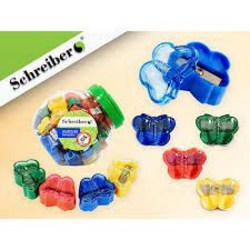 Точилка 1 отверстие Schreiber Бабочка пластиковая ассорти