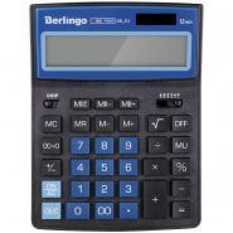 Калькулятор Berlingo City Style 205х155мм 12 разр черный/синий