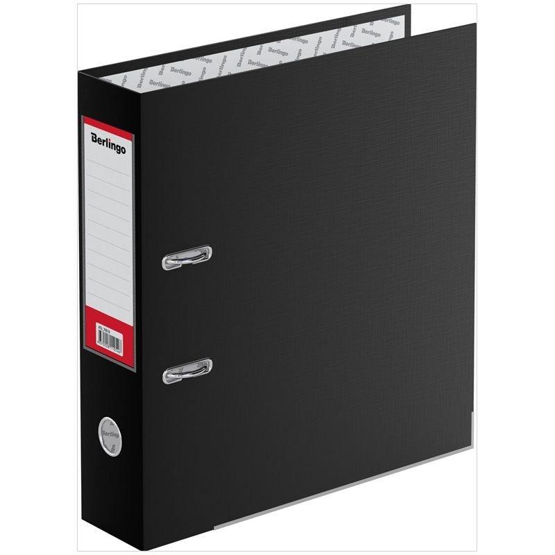 Папка-регистратор 70мм Berlingo Mega Top бумвинил уголок карман черная