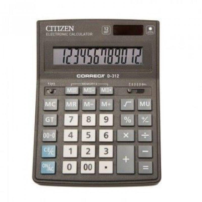 Калькулятор Citizen Correct D-312 155х205мм 12 разр черный