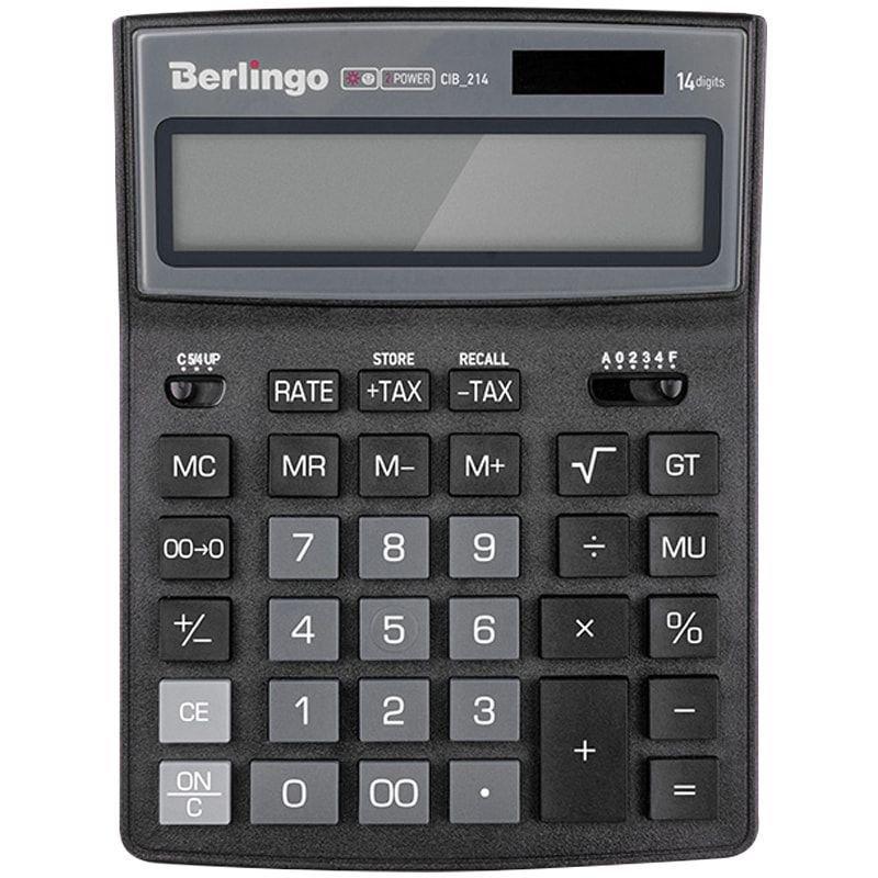 Калькулятор Berlingo City Style 205х155мм 14 разр черный/серый