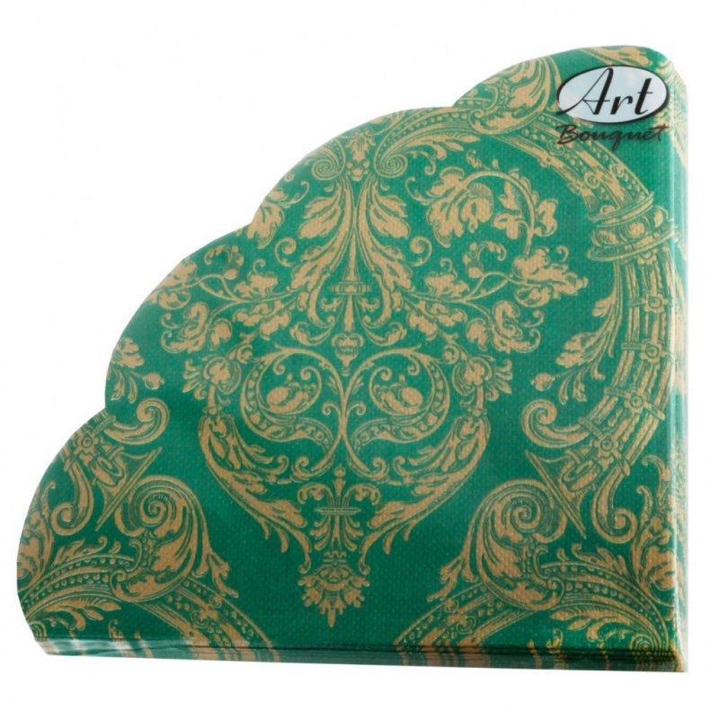 Салфетки 12л Рондо d-32см 3сл Золотой орнамент зеленом