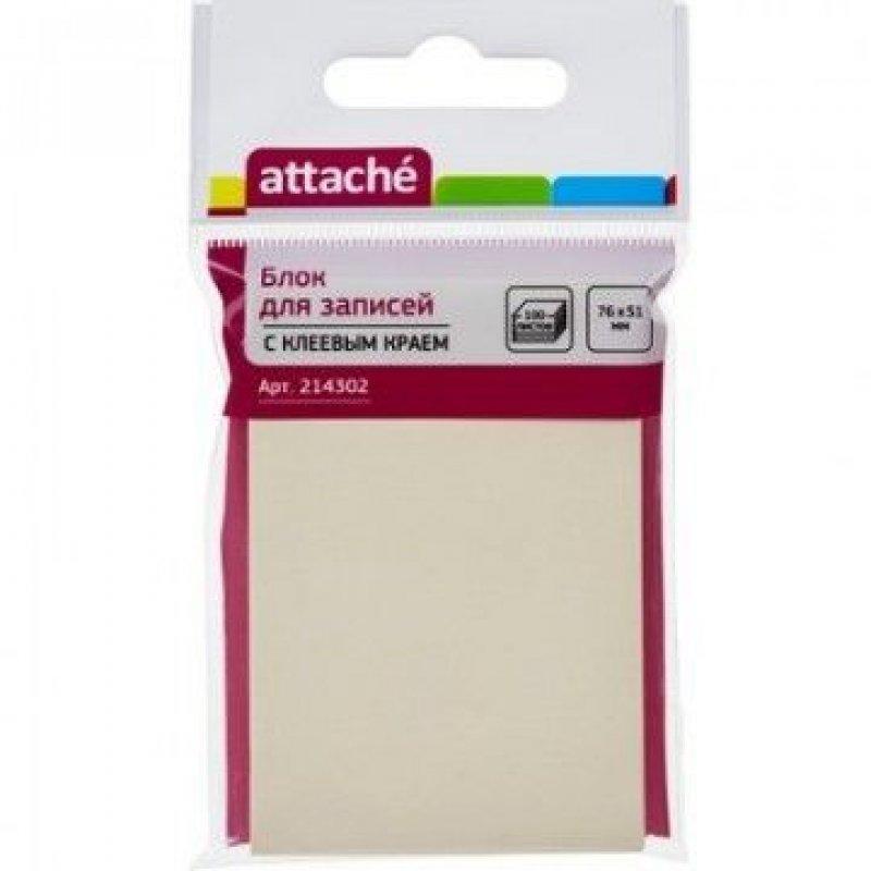 Блок для записей самоклеящийся 76х51мм Attache 100л пастель желтый