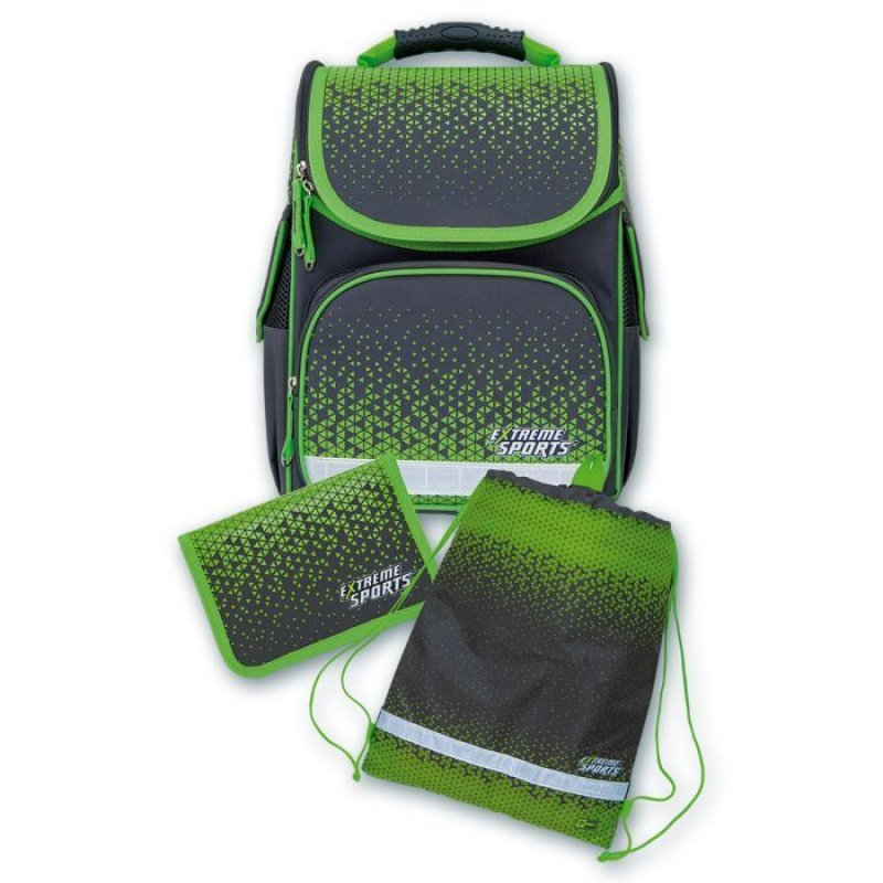 Ранец школьный Геометрия серый 1 отделение + пенал + мешок для обуви